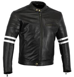 "Bikers Gear, Motorrad-Lederjacke ""The Rocker"", Schwarz, Café-Racer-Jacke, CE-Vestärkung, PU-verstärkt, Größe: 3XL, CE1621–1 - 1"