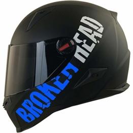 Broken Head BeProud Blau Ltd - Schlanker Motorradhelm Mit Schwarzem Zusatz-Visier - Matt-Schwarz - Größe S (55-56 cm) - 1