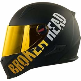 Broken Head BeProud Gold - Schlanker Motorradhelm Mit Goldenem Zusatz-Visier - Matt-Schwarz - Größe L (59-60 cm) - 1