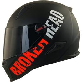 Broken Head BeProud Rot Ltd - Schlanker Motorradhelm Mit Schwarzem Zusatz-Visier - Matt-Schwarz - Größe L (59-60 cm) - 1