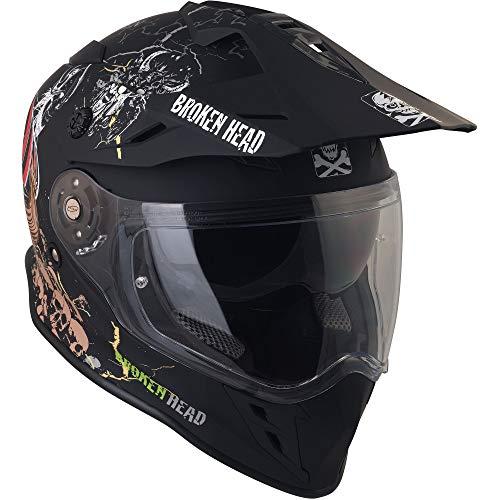 Broken Head Fullgas Viking VX2 - Motorradhelm Mit Sonnenblende - Cross-Helm In Schwarz & Grau - Größe M (57-58 cm) - 3