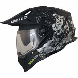 Broken Head Fullgas Viking VX2 - Motorradhelm Mit Sonnenblende - Cross-Helm In Schwarz & Grau - Größe M (57-58 cm) - 1