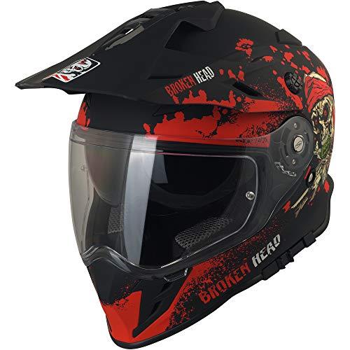 Broken Head Jack S. VX2 Rot - Enduro Cross Helm - Motorrad-Helm Mit Visier & Sonnenblende - Größe XL (61-62 cm) - 2
