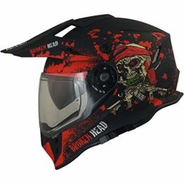 Broken Head Jack S. VX2 Rot - Enduro Cross Helm - Motorrad-Helm Mit Visier & Sonnenblende - Größe XL (61-62 cm) - 1