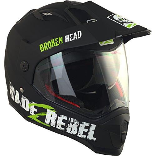 Broken Head made2rebel Cross-Helm grün mit Visier - Enduro-Helm - MX Motocross Helm mit Sonnenblende - Quad-Helm (M 57-58 cm) - 4