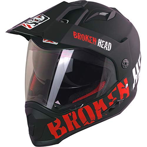 Broken Head Made2Rebel Cross-Helm Rot Mit Visier - Enduro-Helm - MX Helm Mit Sonnenblende - Quad-Helm (XL 61-62 cm) - 2