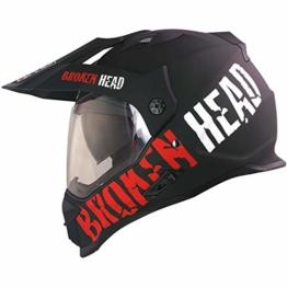 Broken Head Made2Rebel Cross-Helm Rot Mit Visier - Enduro-Helm - MX Helm Mit Sonnenblende - Quad-Helm (XL 61-62 cm) - 1