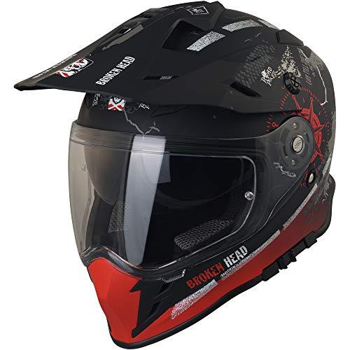 Broken Head Road Pirate VX2 - Motorradhelm Mit Sonnenblende - MX Cross-Helm In Schwarz & Rot - Größe L (59-60 cm) - 2