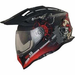 Broken Head Road Pirate VX2 - Motorradhelm Mit Sonnenblende - MX Cross-Helm In Schwarz & Rot - Größe L (59-60 cm) - 1