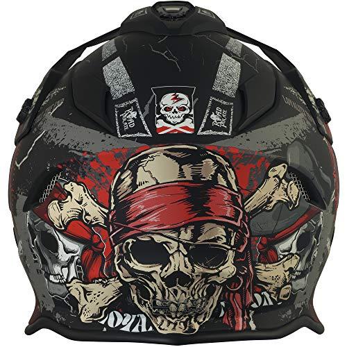 Broken Head Road Pirate VX2 - Motorradhelm Mit Sonnenblende - MX Cross-Helm In Schwarz & Rot - Größe L (59-60 cm) - 5