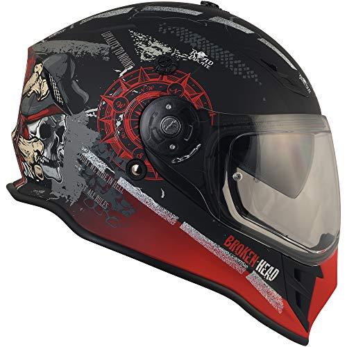 Broken Head Road Pirate VX2 - Motorradhelm Mit Sonnenblende - MX Cross-Helm In Schwarz & Rot - Größe L (59-60 cm) - 9