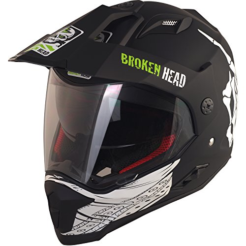 Broken Head Street Rebel Cross-Helm grün mit Visier - Enduro-Helm - MX Motocross Helm mit Sonnenblende - Quad-Helm (L 59-60 cm) - 2