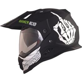 Broken Head Street Rebel Cross-Helm grün mit Visier - Enduro-Helm - MX Motocross Helm mit Sonnenblende - Quad-Helm (L 59-60 cm) - 1
