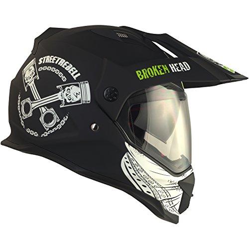 Broken Head Street Rebel Cross-Helm grün mit Visier - Enduro-Helm - MX Motocross Helm mit Sonnenblende - Quad-Helm (L 59-60 cm) - 4