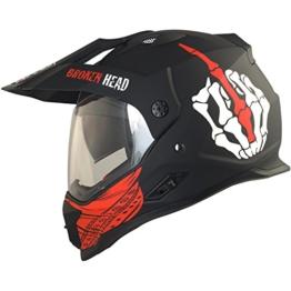 Broken Head Street Rebel Cross-Helm rot mit Visier - Enduro-Helm - MX Motocross Helm mit Sonnenblende - Quad-Helm (XL 61-62 cm) - 1