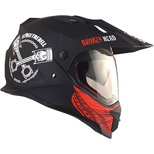 Broken Head Street Rebel Cross-Helm rot mit Visier - Enduro-Helm - MX Motocross Helm mit Sonnenblende - Quad-Helm (XL 61-62 cm) - 4