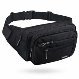 FREETOO Gürteltasche Bauchtasche 5 Fächer Multifunktionale Hüfttasche mit Reißverschluss Geeignet für Reise Wanderung und Alle Outdoor-aktivitäten Schwarz für Damen und Herren - 1
