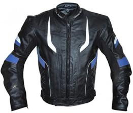 German Wear Motorradjacke Lederjacke Chopperjacke Cruiser jacke Kombijacke Rindsleder, 54/XL, Blau - 1