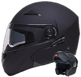 Klapphelm Integralhelm Helm Motorradhelm RALLOX 109 schwarz/matt mit Sonnenblende (S, M, L, XL) Größe L - 1