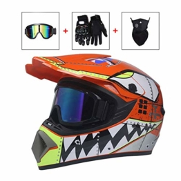 LEENY Motocross-Helm, Herren Motorradhelm Sets mit Brillen/Maske/Handschuhe, Motorrad Sports DH Enduro-Helm ATV MTB Quad Motorräder Off-Road Cross-Helm für Männer Damen,S - 1