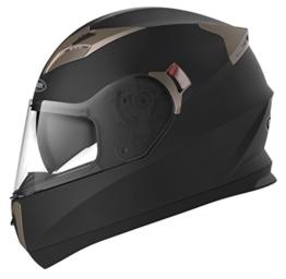 Motorradhelm Integralhelm Rollerhelm Fullface Helm - YEMA YM-829 Sturzhelm ECE mit Doppelvisier Sonnenblende für Damen Herren Erwachsene-Schwarz Matt-L - 1