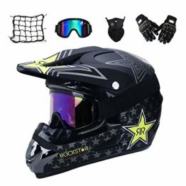 MRDEAR Motorrad Crosshelm mit Brille (5 Stück) - Schwarz/Rockstar - Adult Motocross Helm Erwachsener Off Road Fullface MTB Helm Mopedhelm Motorradhelm für Damen Herren Sicherheit Schutz,L - 1