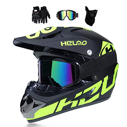 MRDEER Motocross Helm, Adult Off Road Helm mit Handschuhe Maske Brille, Unisex Motorradhelm Cross Helme Schutzhelm ATV Helm für Männer Damen Sicherheit Schutz, 5 Stile Verfügbar,A,L - 1