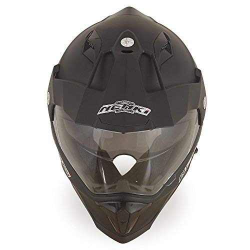 NENKI Motorradhelm Endurohelm Crosshelm mit Visier und Sonnenblende NK-313 für Quad ATV Adventure,ECE-geprüft (Mattschwarz, M) - 4