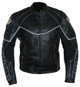 protectWEAR Motorrad Lederjacke, Schwarz, 62 - 1