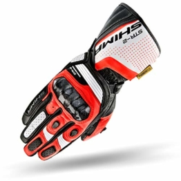 SHIMA STR-2, Motorrad Handschuhe Touchscreen Sommer Leder Sport Carbon Touchscreen Herren Motorradhandschuhe mit Protektoren, Rot Fluo, Größe XL - 1
