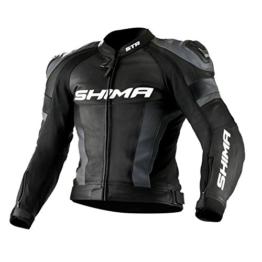 SHIMA STR JACKET BLACK, Lederkombi Motorradbekleidung Zweiteiler Motorradkombi Motorradanzug, Schwarz - 1