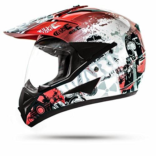Stark ATO GS War Rot Crosshelm mit Visier für Quad ATV Enduro Motorradhelm ECE 2205 Größe: M 57-58cm - 1