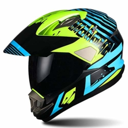 Swyout Off Road Helm Motorradhelm ECE Zertifizierter Crosshelm Enduro Motorrad Enduro Cross Helm Schutzhelm mit Visier und Sonnenblende, für Quad ATV Adventure, Männer Damen - 1
