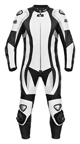 XLS Lederkombi Einteiler in schwarz weiß hochwertige einteilige Motorradkombi - 1