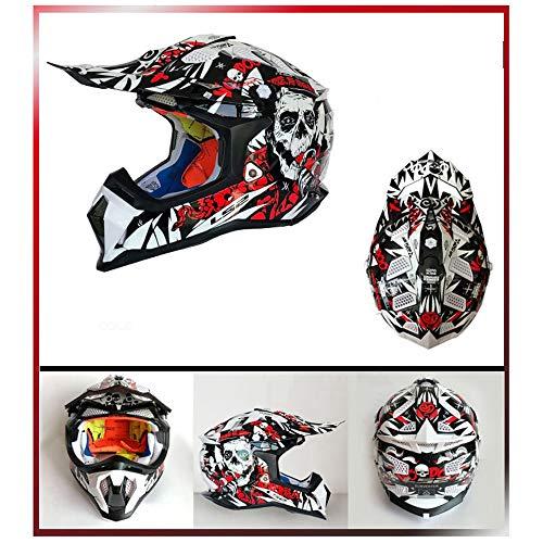 ZDHG Motorradhelm,Motocross Helm,Der Neueste Cross-Helm, ECE-Zertifizierung, Anti-Kollisions-Doppelscheiben-Helm Pull Endurance,Weiß,XL - 2