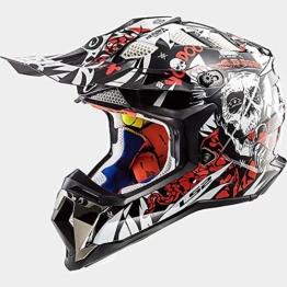 ZDHG Motorradhelm,Motocross Helm,Der Neueste Cross-Helm, ECE-Zertifizierung, Anti-Kollisions-Doppelscheiben-Helm Pull Endurance,Weiß,XL - 1