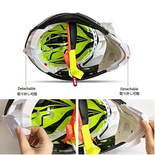 ZDHG Motorradhelm,Motocross Helm,Der Neueste Cross-Helm, ECE-Zertifizierung, Anti-Kollisions-Doppelscheiben-Helm Pull Endurance,Weiß,XL - 3