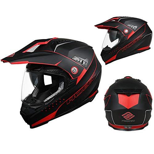 ZDHG Motorradhelm,Motocross Helm,Der Neueste Crosshelm Mit ECE-Zertifikat, Abnehmbarem/Kollisionssicherem Visier Und Kollisionssicherem ATV-Helm Für Rennräder (M-XXL),Rot,XL - 2