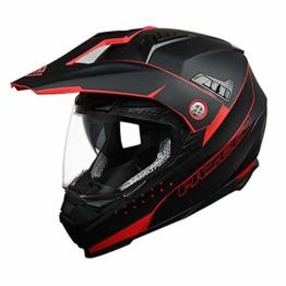 ZDHG Motorradhelm,Motocross Helm,Der Neueste Crosshelm Mit ECE-Zertifikat, Abnehmbarem/Kollisionssicherem Visier Und Kollisionssicherem ATV-Helm Für Rennräder (M-XXL),Rot,XL - 1