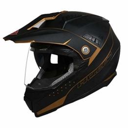 ZDHG Motorradhelm,Motocross Helm,Der Neueste Crosshelm Mit ECE-Zertifikat, Abnehmbarem/Kollisionssicherem Visier Und Kollisionssicherem ATV-Helm Für Rennräder (M-XXL),Schwarz,L - 1